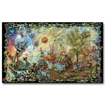 NICOLESHENTING Feen Gnomes Magie Pilze-Psychedelic Trippy Art Silk Stoff Poster Druck Abstrakte Bild Wand Dekoration