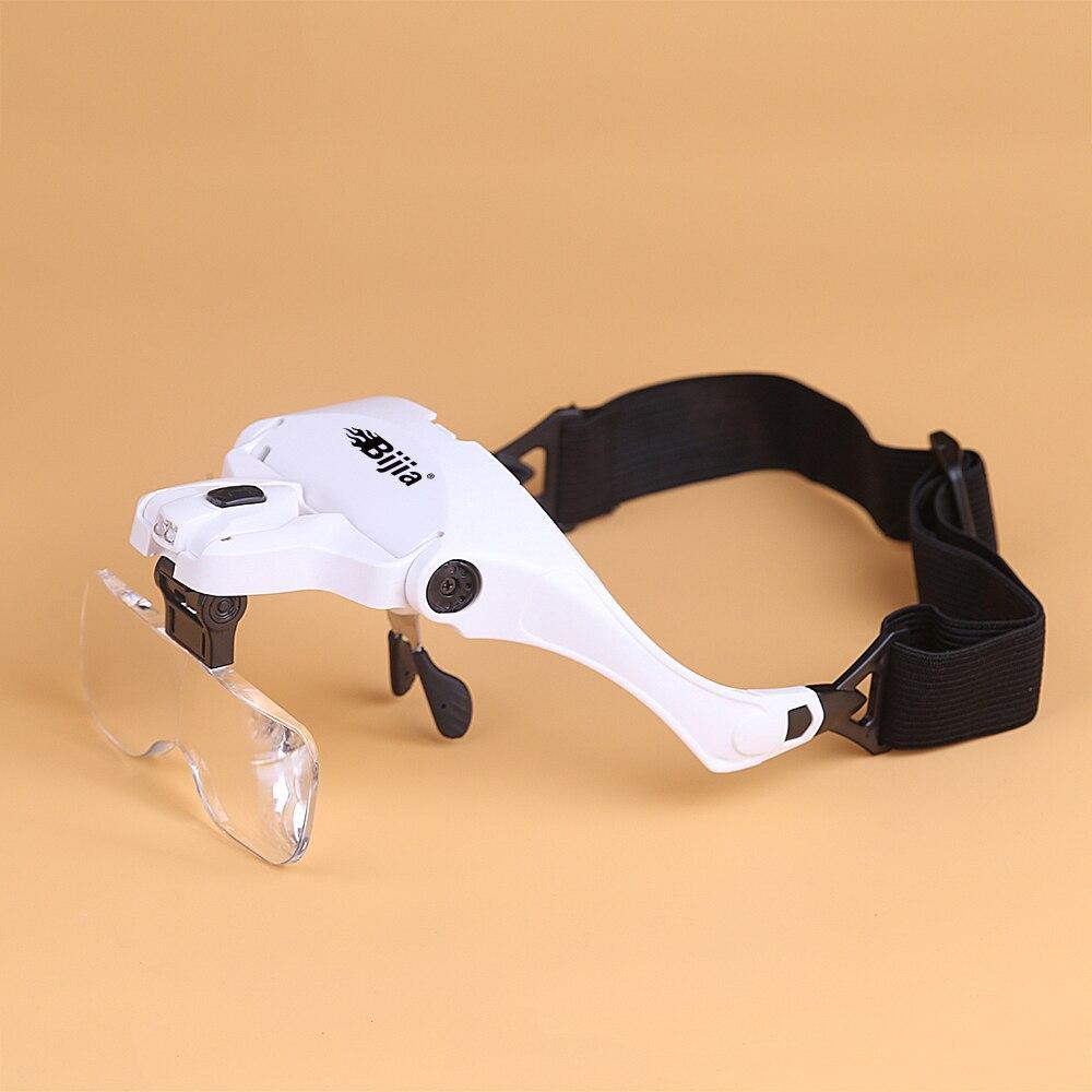 BIJIA 1.0X 1.5X .2.0X 2.5X 3.5X Eyelash Magnifying Glass Interchangeable 5 Pcs Lenses Headband 2 LED Head Magnifier