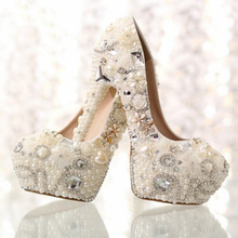 Bridal Wedding Dress Shoes Formal Prom Rhinestone Crystal Shoes Classic Heels White Pearl Bride Beaded Shoes Nice Shoes for Mom