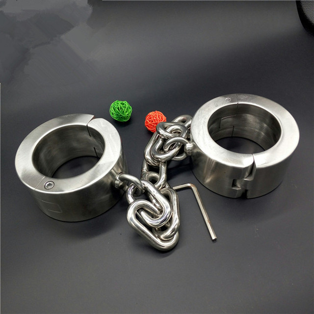 3.5-4.5kg Heavy 4cm High Stainless Steel Bondage Shackles+Handcuffs Foot Hand Cuffs Metal Bondage Restraints Adult Sex Toys G22