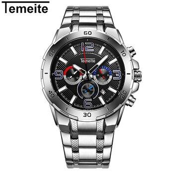 TEMEITE 新しい時計男性高級ブランドステンレススチール防水メンズ腕時計クロノグラフ時計レロジオ