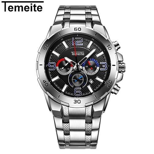TEMEITE New Watches Men Quartz Sport Watch Luxury Brand Stainless Steel  Waterproof Men's Wristwatch Chronograph Clock Relogio