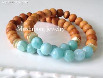 Boho Chic Amazonite Beads Gold Accents Wood wooden bracelet for women wooden bead bracelet