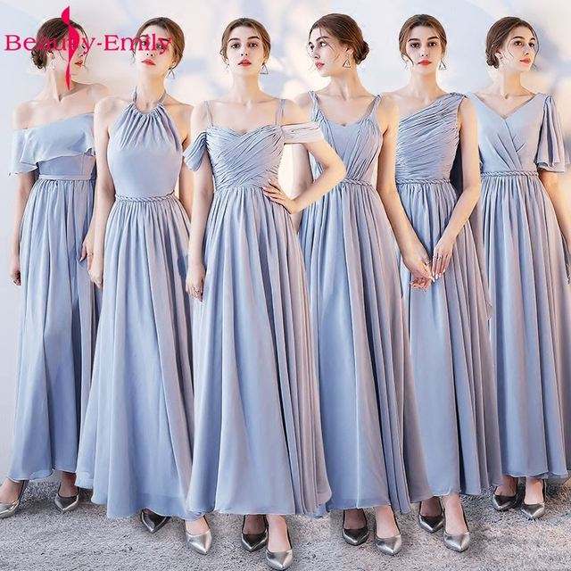 f70bbb8506 US $37.87 31% OFF|Beauty Emily Light Grey Bridesmaid Dresses 2019 A line  Sweetheart Women Formal Wedding Party Gowns Floor Length Party Prom  Dress-in ...