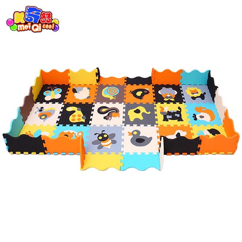 Mei qi cool 18 pièces avec clôtures bébé jouer tapis EVA mousse puzzle tapis/bande dessinée EVA mousse pad/tapis de verrouillage pour enfants 30X30 cm 1 cm - 6