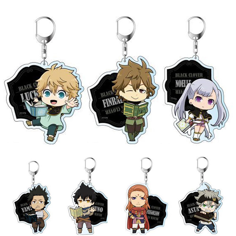 1PC Anime Cartoon Key Chains Black Clover Action Figure Acrylic Keychain Pendant Cosplay Keyring Fashion Jewelry Key Ring Gifts
