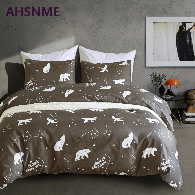 AHSNME Very Comfortable Fabric and Constellation Patterned Grey Bedding Set American Size Quilt Cover Home Textiles