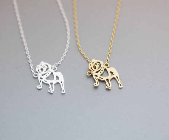 Daisies 10pcs/lot--Bulldog Necklace Dog Animal Pendant Gold Silver Plated Jewelry For Women Male Female Girls Ladies Kids Boys