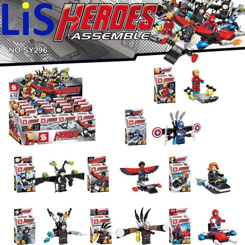Lis 8pcs/<font><b>lot</b></font> SY296 <font><b>Super</b></font> <font><b>Heroes</b></font> <font><b>Avengers</b></font> Iron Man <font><b>Spiderman</b></font> <font><b>Falcon</b></font> Black Widow Building Blocks Sets Model Bricks Toys Lepin