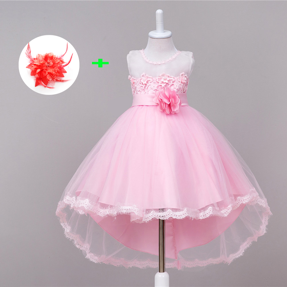 2018 beaded ball gown children prom dresses short front long back applique lace girls dress wedding party kids