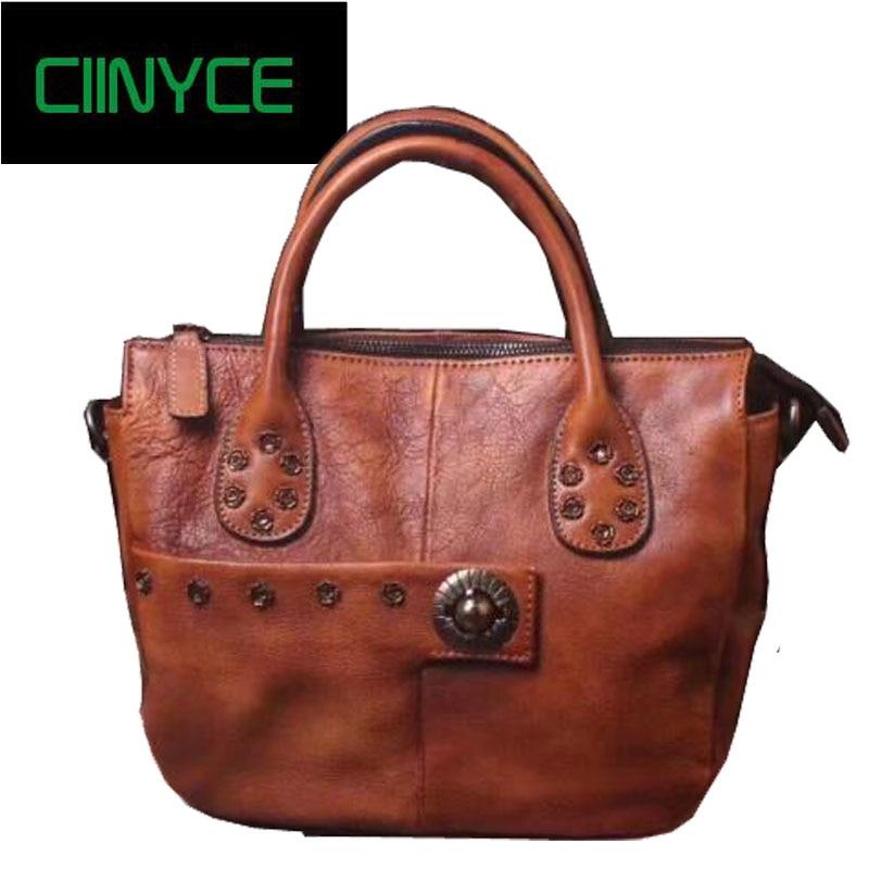 все цены на new cow leather women handbags 2017 vintage fashion Retro Rivets Original Designer Soft Cowhide totes crossbody messenger bags онлайн