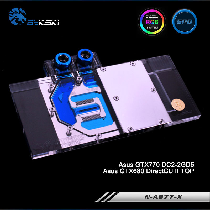 Bykski N-AS77-X Full Cover Graphics Card Water Cooling Block RGB/RBW/ARUA for Asus GTX770 DC2-2GD5,GTX680 DirectCU II TOP computador cooling fan replacement for msi twin frozr ii r7770 hd 7770 n460 n560 gtx graphics video card fans pld08010s12hh