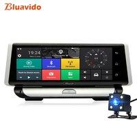 Bluavido 8 ips 4 г видеокамера на ОС андроид для автомобиля gps камера ADAS Sygic навигации Full HD 1080 P автомобиля видео регистраторы двойной объектив парк