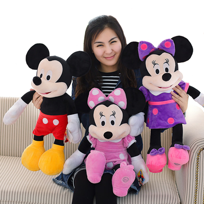 New lovely 60CM Mickey or Minnie Mouse Plush Toy stuffed Doll for Kids Baby Cute Animal Cartoon Birthday Gift for Girls new cute plush toy cow doll simulation game more cattle stuffed animal christmas birthday gift for girls