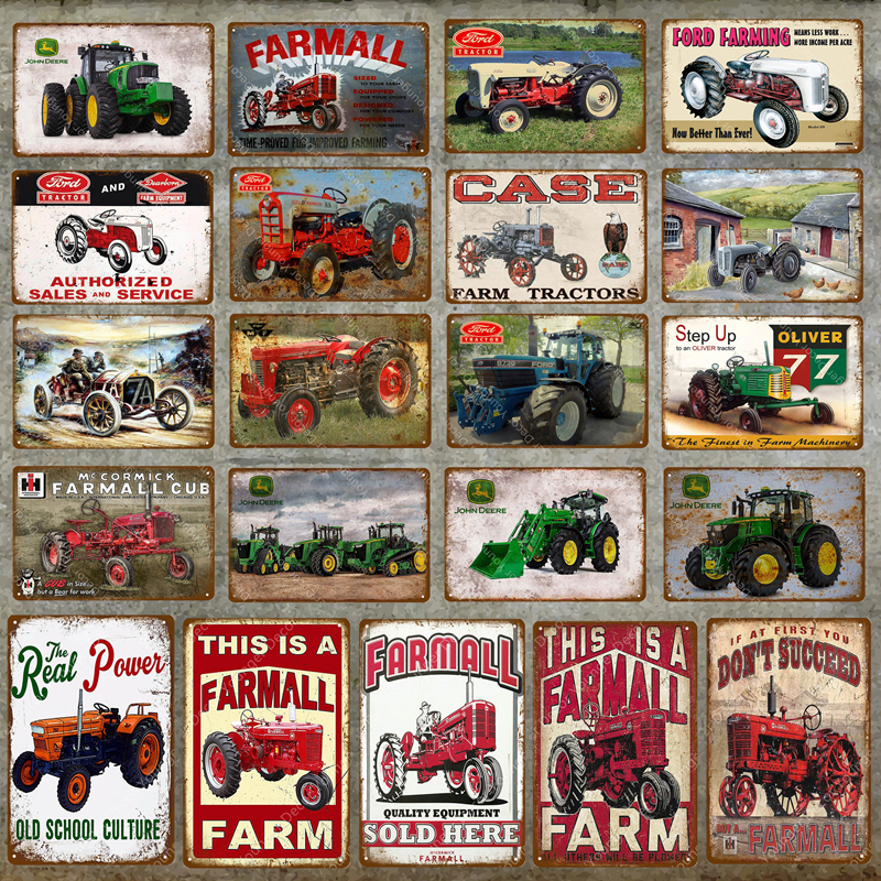 Vintage Home Decor Machine Farmall Farm Tractors Metal Tin Signs Ford Farming Wall Art Painting Poster Bar Cafe Pub Wall Plaque