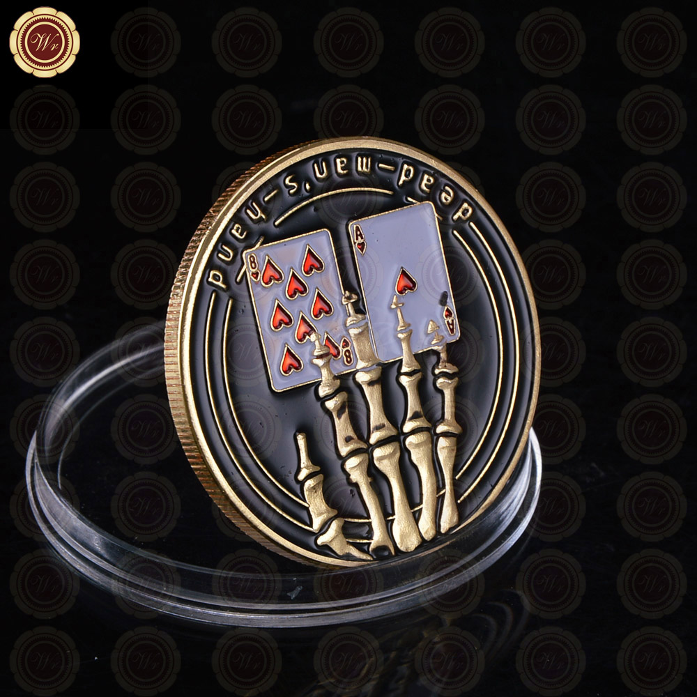 WR 24k Gold Casino Table Game Collectible Coin Chip Poker Card Guard Protects The Cards In Your Hand Golden Collection