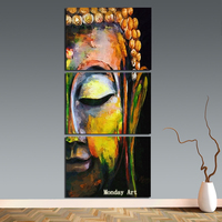 hand painted Canvas Painting Wall Art Pictures vivid Buddha face on canvas home decor Wall decoration for living room cafe decor
