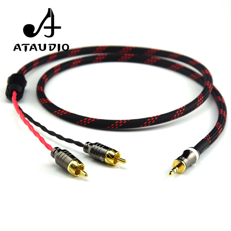 ATAUDIO Hifi Canare 3.5mm To 2RCA Audio Cabler PC Mobilephone Amplifier Interconnect High Qualitu 3.5 Jack To RCA Cable