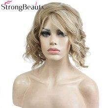 StrongBeauty Short Wavy Blonde Peruca Rezistent la căldură Periculoase Sintetice complete Părul femeii