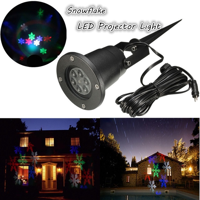 Waterproof RGB LED Outdoor Light Laser Moving Snowflake 4 LED Landscape Light  Projector Garden Yard Party