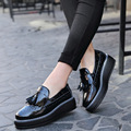High Quality Women oxfords Flats Platform shoes Patent Leather Tassel Slip-on pointed Creeper black Brogue Loafers Brand