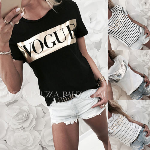 Harajuku Summer Casual T Shirt Women Fashion VOGUE Printed T-shirt Woman Tee Tops Casual Female T-shirts