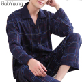 BabYoung 2017 Spring Summer Men Pajamas Sets Casual Cotton Plaid Sleepwear Turn-down Collar Full Sleeve pijamas Pants hombreXXXL