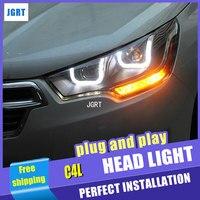 Автомобиль Стайлинг для Citroen C4L сборки фар 2014 C4 светодиодный фар DRL Объектив Двойной Луч H7 с hid комплект 2 шт..