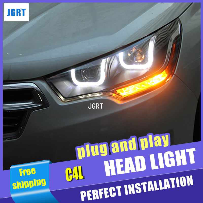 Car Styling for Citroen C4L Headlight assembly 2014 C4 LED Headlight DRL Lens Double Beam H7 with hid kit 2pcs. hireno headlamp for volkswagen tiguan 2017 headlight headlight assembly led drl angel lens double beam hid xenon 2pcs