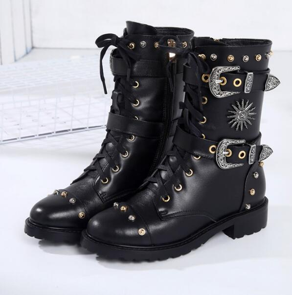 d7603e2ec85 Cool Women Blakc Leather Buckles Boots Studs Cover Ladies Flat Motorcycle  Boots Punk Style Lace Up Riding black flat