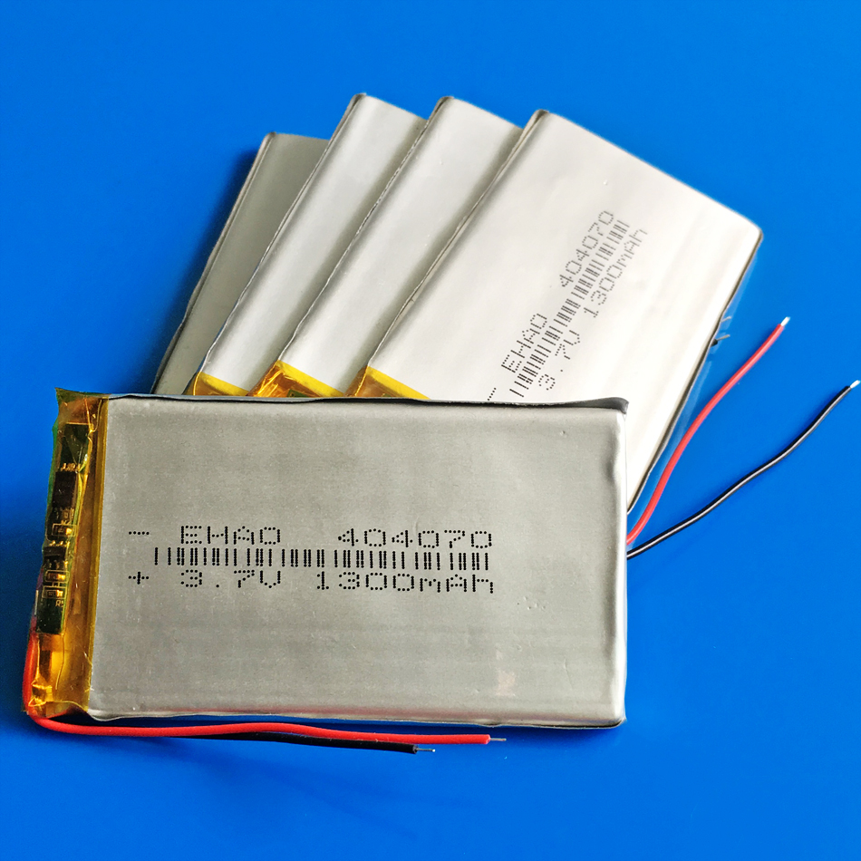 5 x pcs 3.7V 1300mAh <font><b>404070</b></font> polymer lithium lipo Rechargeable battery for MP3 GPS DVD bluetooth recorder camera keyboard speaker image