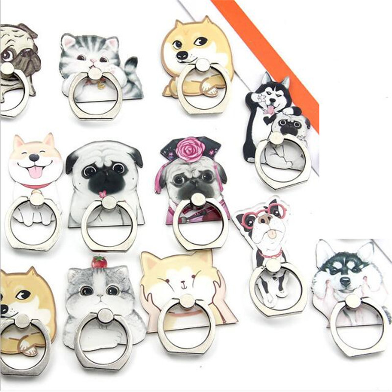 UVR Bulldog Husky Animal Cat Mobile Phone Stand Holder Finger Ring Smartphone Cute Cat Holder Stand For Xiaomi Huawei All Phone