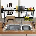 Estante para platos de cocina de acero inoxidable 65/85cm negro con forma de U de almacenamiento de titular