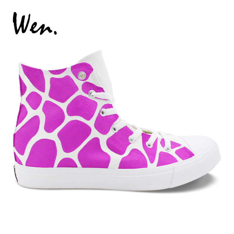Wen Hand Painted Custom Shoes Purple Giraffe Pattern Design Original High Top Canvas Sneakers Boys Girls Painting Casual Shoes wen giraffe canvas shoes classic white hand painted animal sneakers sports high top skateboarding shoes for man woman