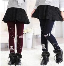 2017 Winter Print Leggings Girl Cotton Plus Velvet Thicken Foot Leggings for Kids Baby High Elastic Warm Girl Trousers YP1601