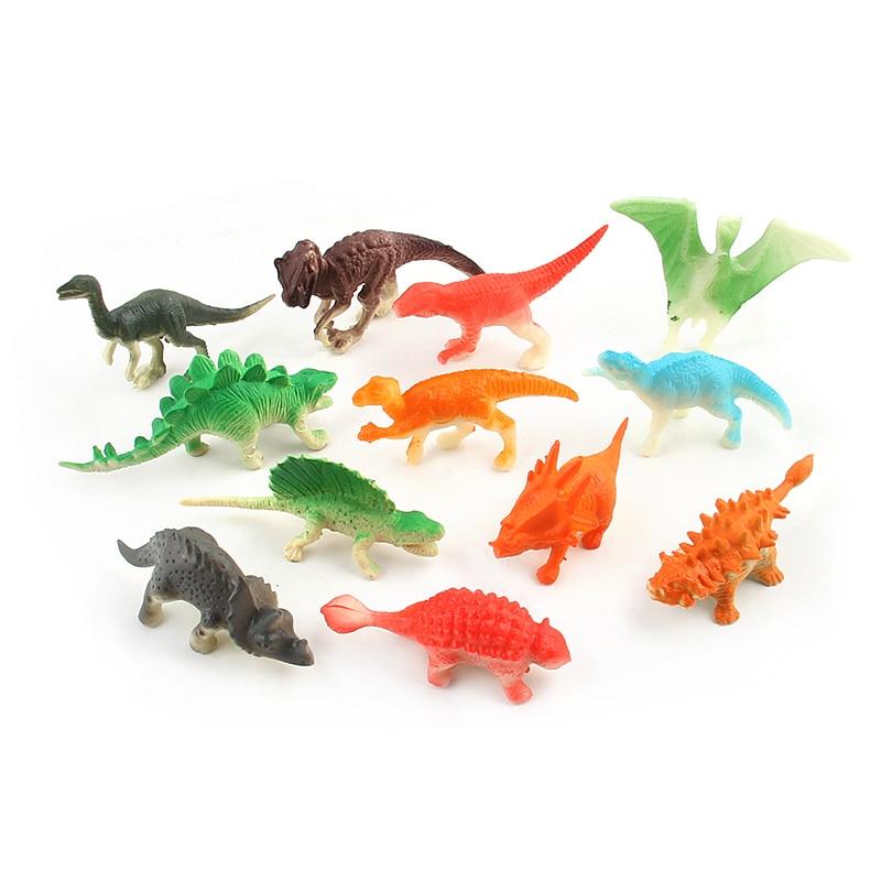 12pcs/1lot Stegosaurus Dinosaur Tyrannosaurus Pterosaur Dragon Flag Mini Figuer Pvc Collectible Toys Christmas Gifts Kids A Plastic Case Is Compartmentalized For Safe Storage Toys & Hobbies