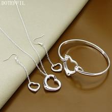 925 Sterling Silver Simple Heart Necklace Bracelet Earrings For Women High Quality Set