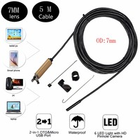 2017 New 7mm 2in1 Android USB Endoscope Camera 5M Smart Android Phone OTG USB Borescope Snake