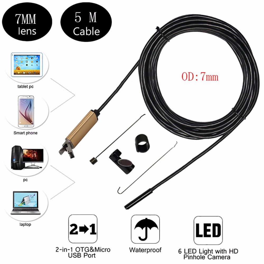 2017 New 7mm 2in1 Android USB Endoscope Camera 5M Smart