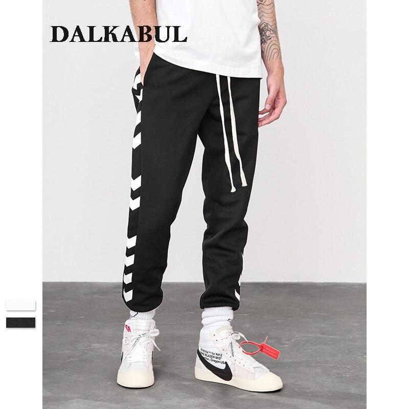 2018 Autunno A/w Pantaloni Della Tuta Lato Traffico Corsia Linea Stampato Maschio Streetwear Pantaloni Pista Pantaloni A Righe Casual Jogger Pantaloni