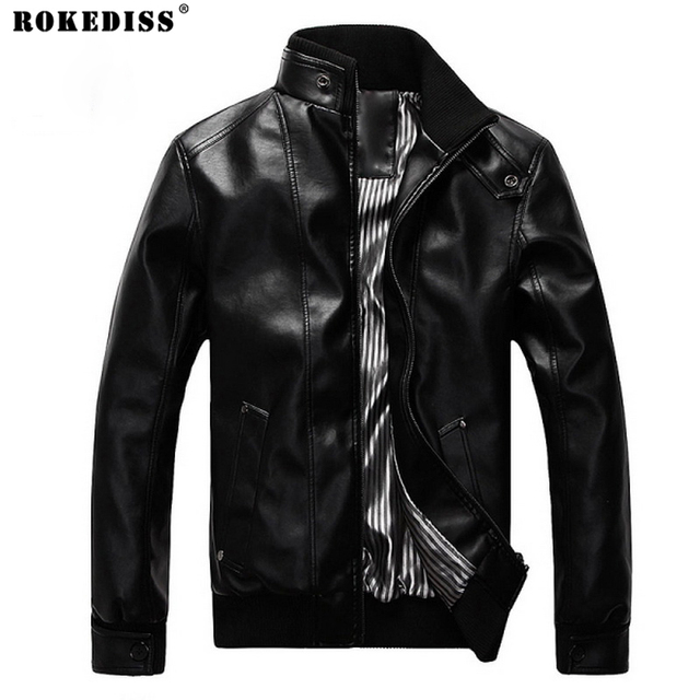Korean Fashion Man Windproof Leather Jacket Large Size M-4XL Black & Brown Men's Clothing Mandarin Collar Men Casual Coats TC551