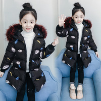Cold Winter Baby Girls Warm Outerwear Coats Feather Pattern Hooded Jackets new 2019 Children Long Coats Kids Winter Clothes 14T