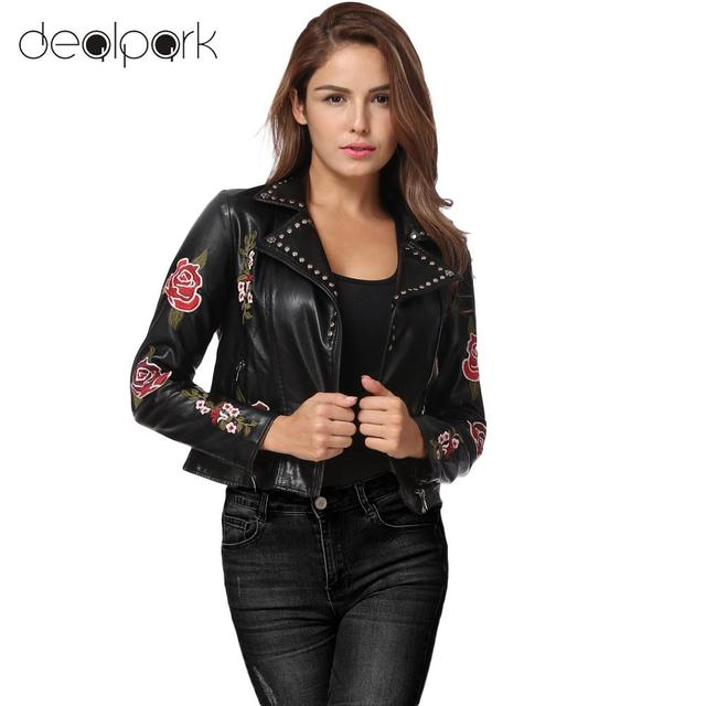 f0fb27adf US $32.49 35% OFF|Autumn Winter Fashion Women Embroidery Flower PU Faux  Leather Jacket Coat Zipper Basic Moto Jacket Outerwear jaqueta de couro-in  ...