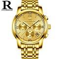 RONTHEEDGE Luxus Marke Quarzuhr männer Gold Casual Business Edelstahl Mesh band Quarz Uhr Mode Männer Uhr RZY026-in Quarz-Uhren aus Uhren bei