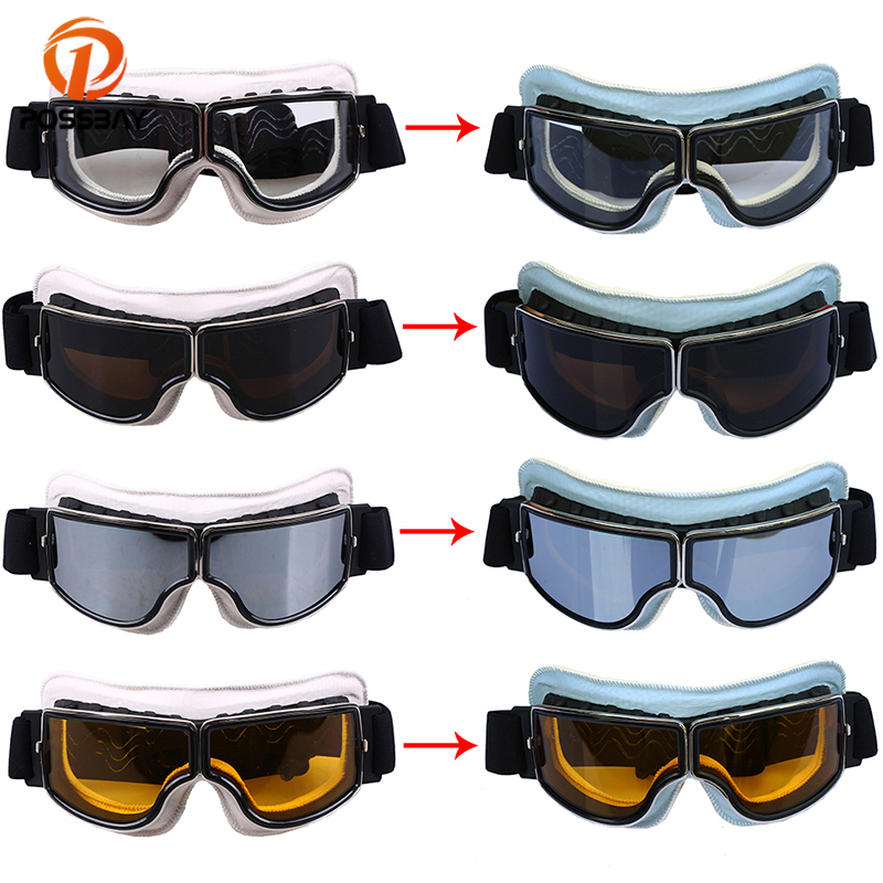 POSSBAY Motorcycle Goggles Glasses Leather White To Blue Winter Snow Sports Skiing Snowboard Snowmobile Goggles Cycling Eyewear