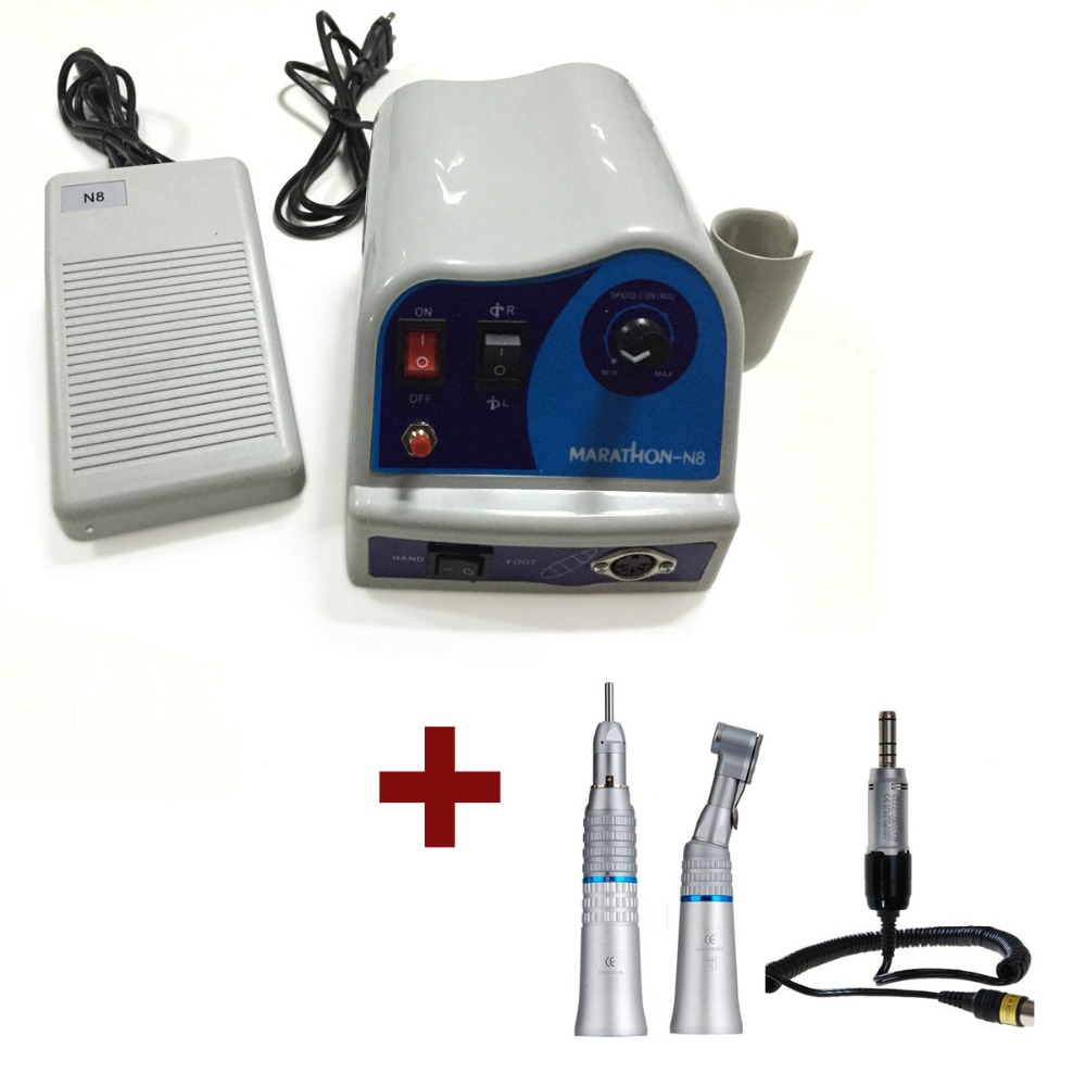 2016 NEW Dental Marathon Micro motor N8 S03 with Straight & Contra Angle Handpiece Kit deasin new arrival inner and outer waterway dental electric motor straight contra angle handpiece