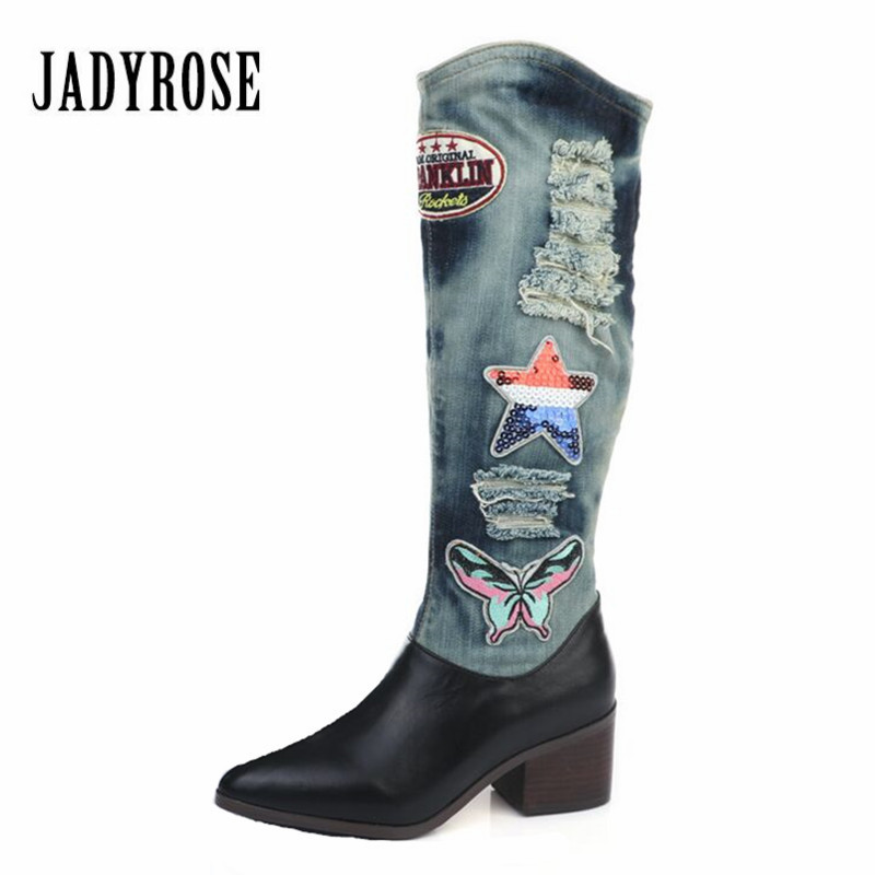 Jady Rose Appliques Pointed Toe Denim Boots Women Chunky High Heel Knee High Boots Slip On Jean Botas Mujer Platform Rubber Boot jady rose brown fringed women chunky high heel boots suede slip on women rivets studded rubber boot platform autumn winter botas