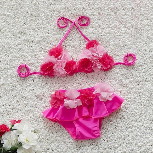f80f3a0cef Cute 3D flowers 0-24M Baby Swim Suit Toddler Baby girl Swimwear infant Baby  bikini