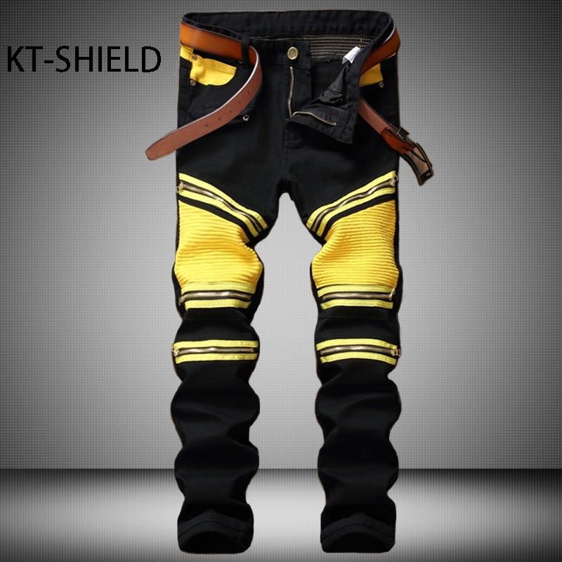 Mens jeans Brand Runway Distressed Cotton Denim Pant Straight Casual man Black Slim Zipper Biker Homme Vaqueros Trousers