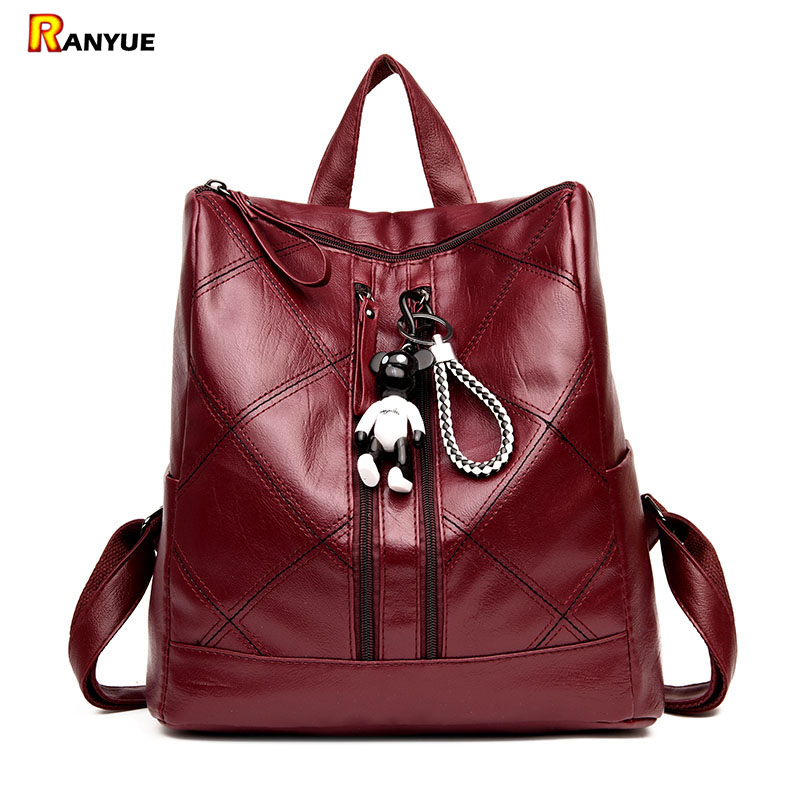 Plaid Bear Backpack Women Bagpack 2018 High Quality Pu Leather Backpacks For Teenage Girls Female School Bags Sac A Dos Femme fashion genuine leather backpack women school bags for teenage girls backpacks high quality rivet ladies backpack sac a dos 2018